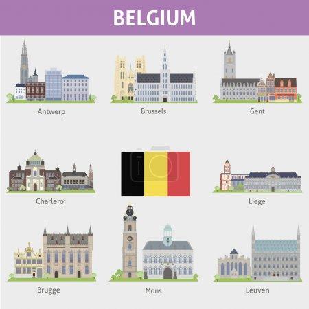 Photo pour Belgique. Symboles des villes. Ensemble vectoriel - image libre de droit