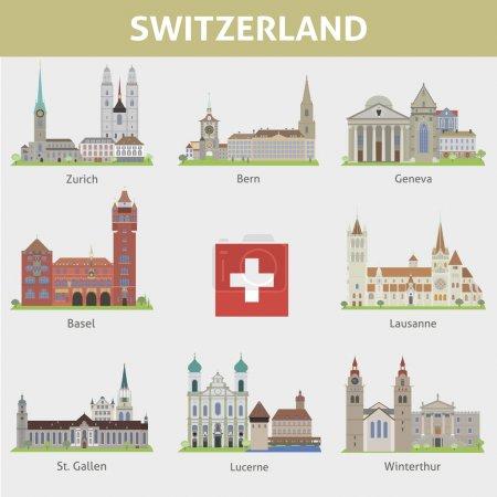 Photo pour Suisse. Symboles des villes. Ensemble vectoriel - image libre de droit