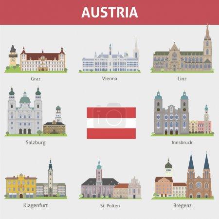 Photo pour Autriche. Symboles des villes. Ensemble vectoriel - image libre de droit