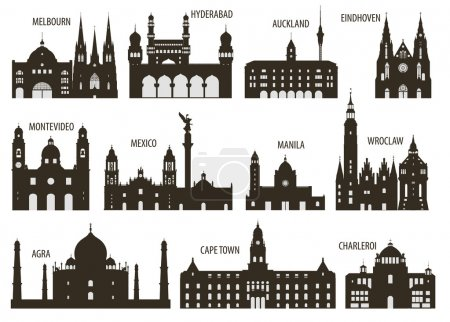 Illustration for Silhouettes of cities. Set for you design - Royalty Free Image