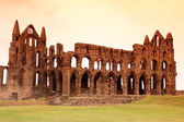Whitby Abbey castle, ruined Benedictine abbey sited on Whitby's