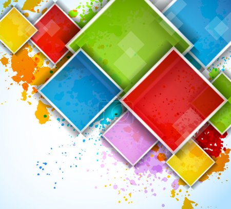 Colorful squares on bright grunge background...