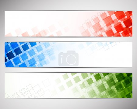 Colorful banners with squares