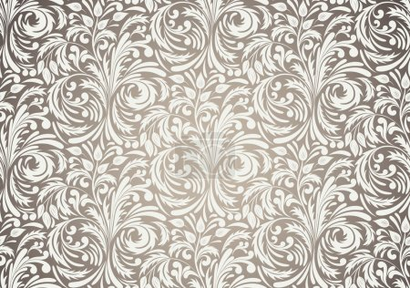 Illustration for Seamless pattern in brown color. Floral illustration - Royalty Free Image