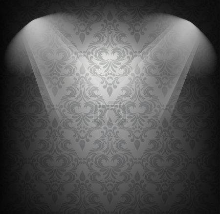 Illustration pour Arrière-plan avec motif damassé en couleur noire - image libre de droit