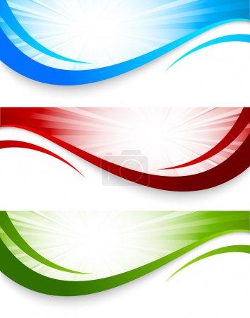 Illustration pour Ensemble de bannières ondulées. Illustration colorée abstraite - image libre de droit