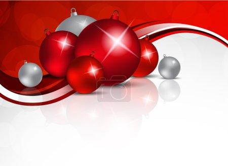Illustration pour Fond de Noël avec boules rouges et argentées - image libre de droit