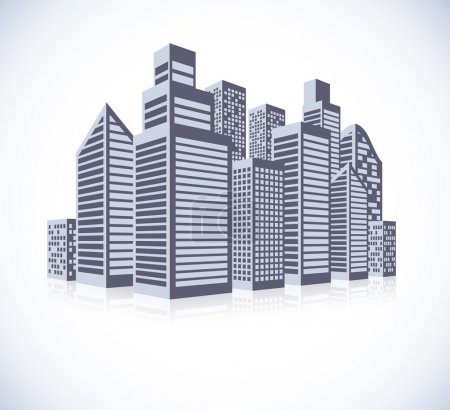 Illustration for Cityscape background with few skyscrapers. Abstract illustration - Royalty Free Image