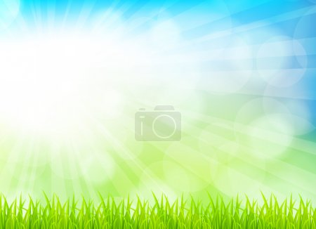 Illustration for Spring background with grass. Bright illustration - Royalty Free Image