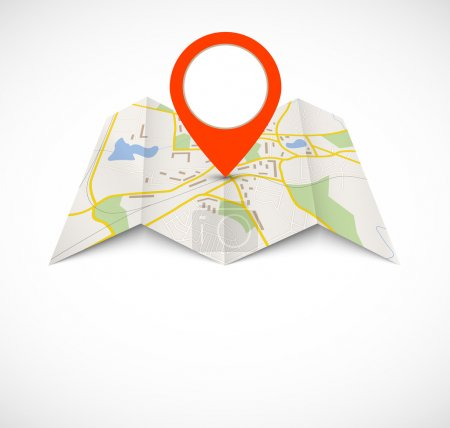 Illustration for Navigation map with red pin - Royalty Free Image