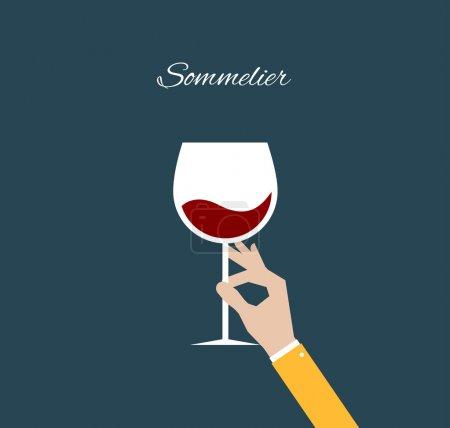 Illustration pour Sommelier. Illustration plate - image libre de droit