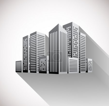 Illustration for Cityscape illustration with long shadow - Royalty Free Image