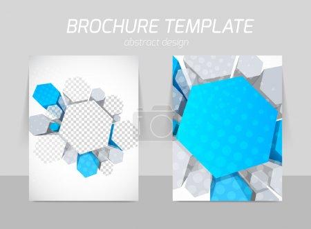 Illustration pour Modèle de dépliant Science hexagones en couleur bleue et grise - image libre de droit