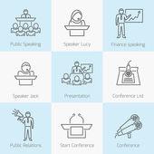 Set of public speaking icons