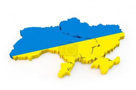 Photo pour Ukraine carte avec une ombre sur un fond clair - image libre de droit
