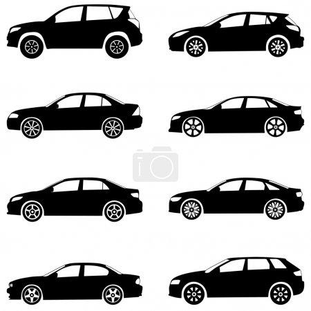 Illustration pour Silhouette voitures sur un fond blanc. Illustration vectorielle . - image libre de droit