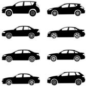 Silhouette cars on a white background Vector illustration
