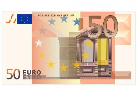 Illustration pour Billets de 50 euros sur fond blanc . - image libre de droit