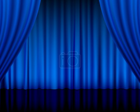 Illustration for Close view of a blue curtain. Vector illustration. - Royalty Free Image