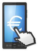 phone cursor and euro symbol