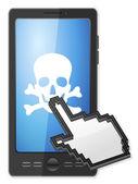 phone cursor and danger symbol