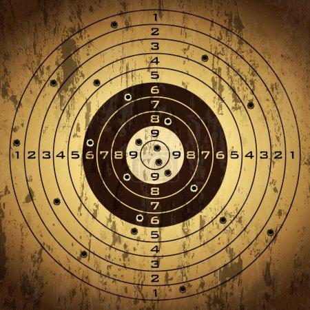 Illustration pour Cible avec des trous de balle sur fond de grunge. Illustration vectorielle . - image libre de droit