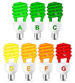 Energy efficiency rating bulb on a white background