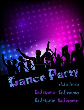 Illustration pour Affiche pour fête disco avec des silhouettes de danseurs - image libre de droit