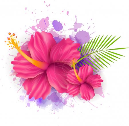 Illustration for Abstract summer background with hibiscus flowers on colorful watercolor splash - Royalty Free Image