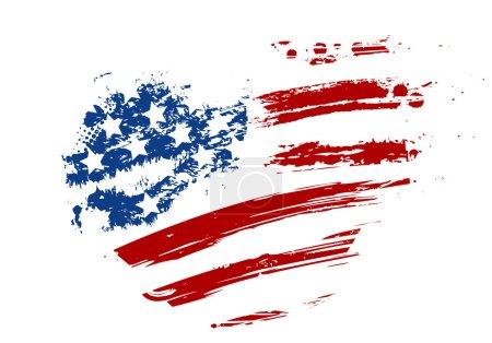 Illustration for Grunge USA flag - splattered star and stripes in heart shape - Royalty Free Image