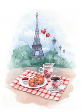 Photo for Watercolor background with illustration of eiffel tower and traditional breakfast - Royalty Free Image