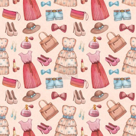 Seamless pattern with watercolor dresses and accessories