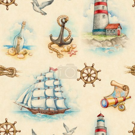 Photo for Nautical watercolor seamless pattern - Royalty Free Image