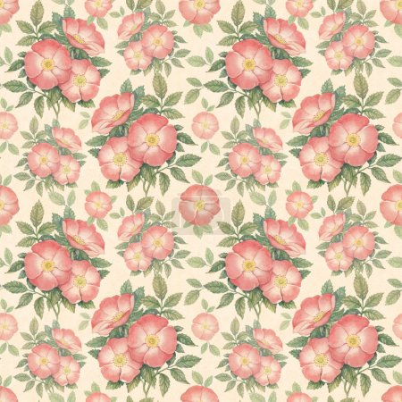 Photo for Watercolor dogrose illustration. Seamless pattern - Royalty Free Image