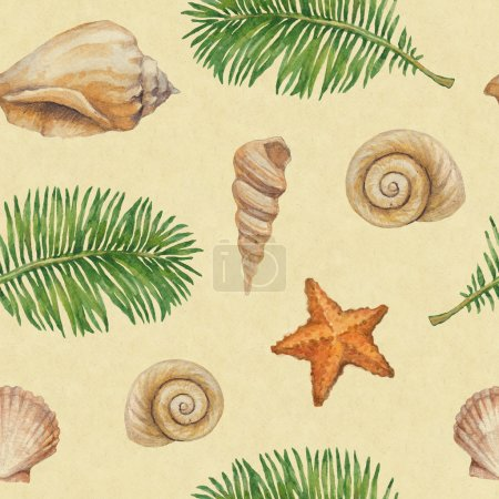 Artistic seamless pattern with watercolor shell, sea star and palm leaf