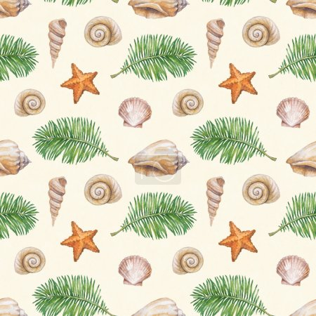 Artistic seamless pattern with watercolor shell, sea star