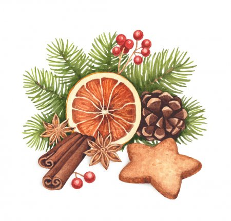 Watercolor Christmas illustration. Gingerbread cookies and Chris