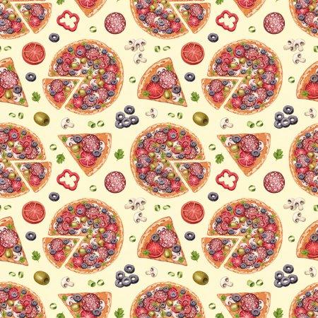 Photo pour Modèle sans couture avec des illustrations de pizza - image libre de droit