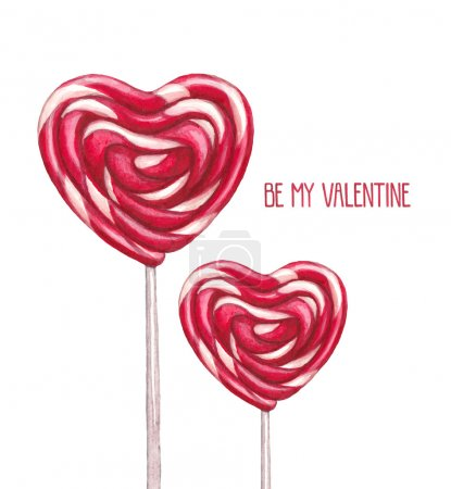 Photo for Watercolor lollipop illustration. Valentine's Day greeting card - Royalty Free Image
