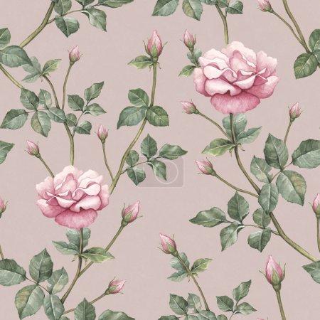 Photo pour Modèle aquarelle avec illustration rose - image libre de droit