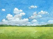 Watercolor illustration of rural landscape