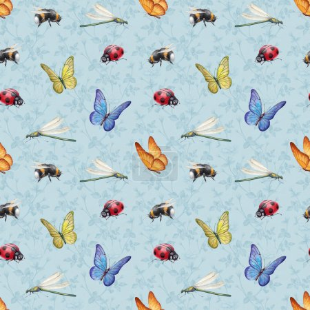 Watercolor insects illustrations. Seamless pattern