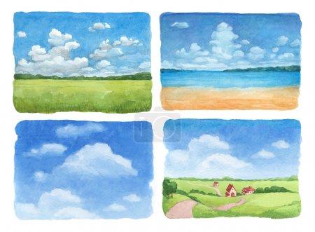 Photo pour Illustrations aquarelle ensemble d'un paysage d'été - image libre de droit