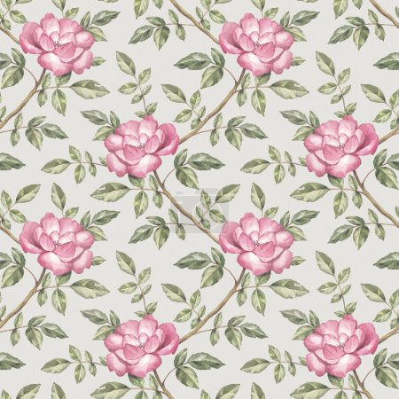 Photo for Watercolor pattern with roses illustration - Royalty Free Image