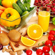 Fresh vegetable and fruit and glass of juice....