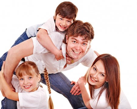 Photo for Happy family with children. Isolated. - Royalty Free Image