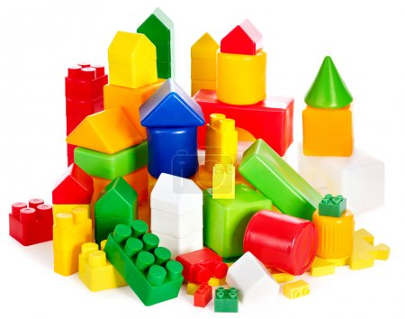 Children toys with cubes.