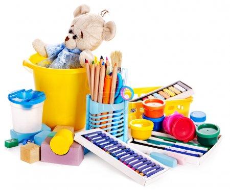 Foto de Juguetes infantiles para el desarrollo. Aislado . - Imagen libre de derechos