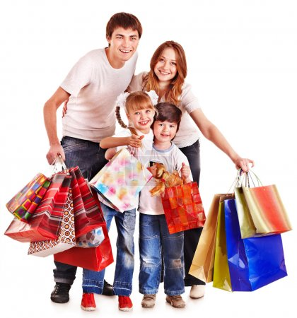 Photo for Family with children holding shopping bag. Isolated. - Royalty Free Image