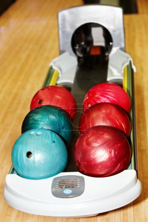 Group of red bowling ball.